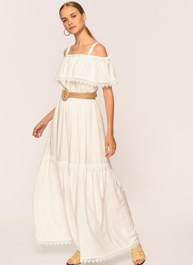 Loves You Carmen Yaka Katlı Astarlı Maxi Boy Elbise Beyaz